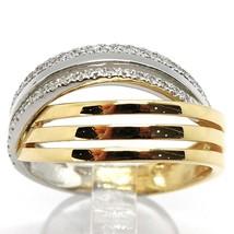 18K WHITE YELLOW GOLD BAND RING, CUBIC ZIRCONIA, BICOLOR BINARY, ONDULATE, WAVE image 1