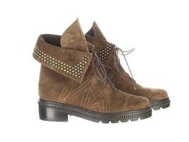 Stuart Weitzman Women's Brown Suede Yadastud Studded Combat Boots Booties 6 - $137.99