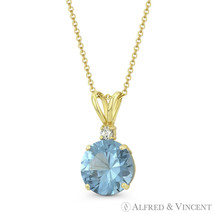 Faux Aquamarine Blue & Clear Round Cut CZ Crystal 14k Yellow Gold 15x8mm Pendant - $84.59
