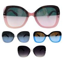 Womens Rimless Exposed Lens Oversize Butterfly Plastic Sunglasses - $12.95