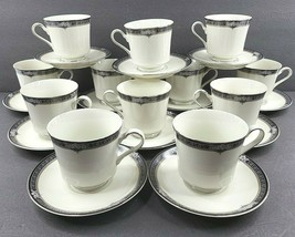 12 Mikasa Grande Ivory Gothic Rose Cups Saucers Set Vintage L2853 Dishes... - $89.07
