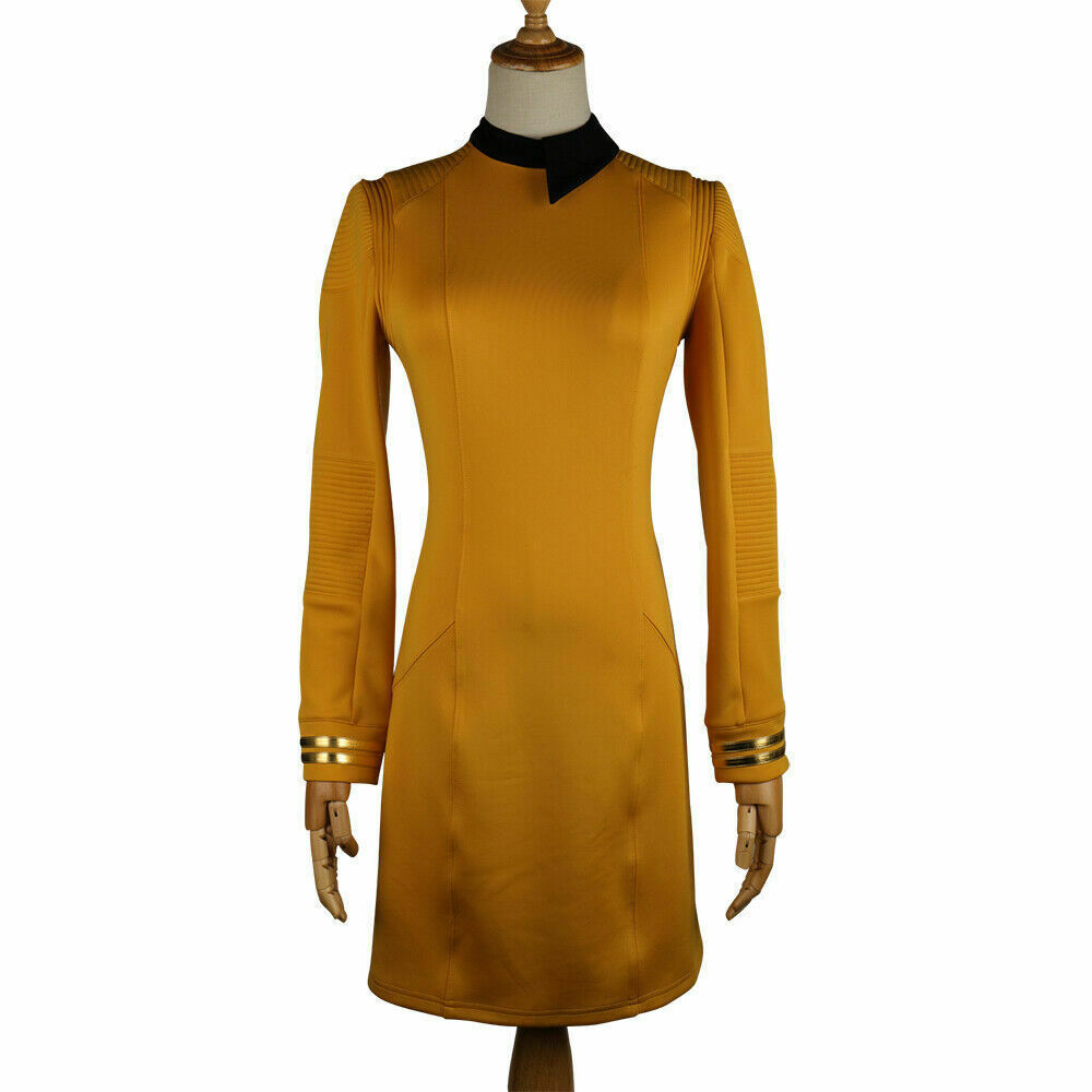 Primary image for Season 2 Star Trek Discovery Starfleet Commander Gold Dress Costume with Badge