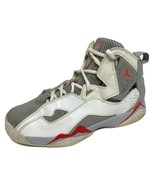 Jordan youth kids shoes sneakers true flight leather white gray hi top size - $38.12