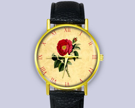Beautiful Rose Art Illustration Vintage Leather Watch Her Gift Idea Acce... - $12.50