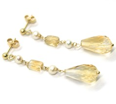 18K YELLOW GOLD PENDANT EARRINGS, PEARL AND CITRINE DROP, 1.93 INCHES image 2
