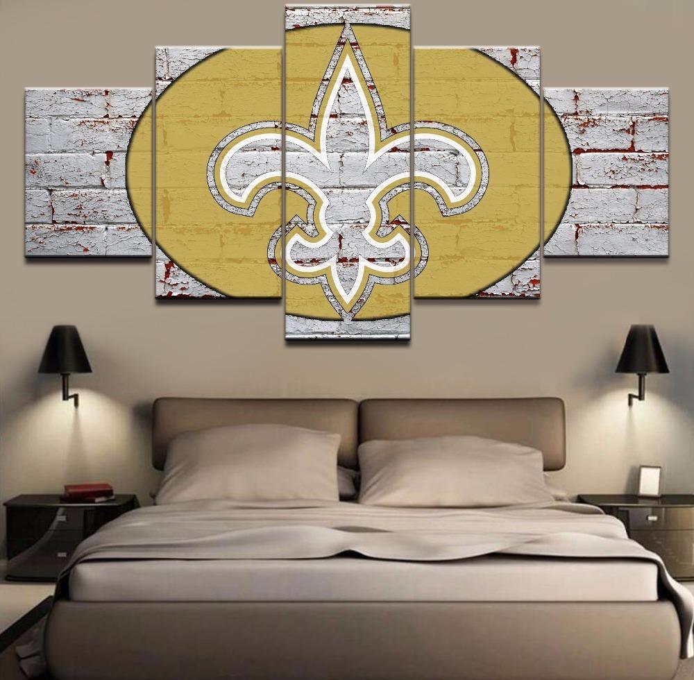 New Orleans Saints Home Decor: 5 Piece New Orleans Saints Football Team Sports Canvas