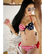 American US Flag Three Piece Sexy Swimsuit Bikini Blouse Skirt Beach Spa... - $19.50