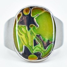 Silver Painted Abstract Design Color Changing Contrasting Mood Ring image 2