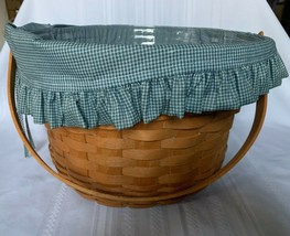 Longaberger 1992 Large 13x9 Fruit Apple Basket Checked Fabric Liner Swin... - $54.22