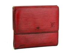 Auth LOUIS VUITTON Trifold Epi Red Leather Mini Coin Wallet Purse Access... - $137.61