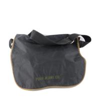 Vintage 90s Ralph Lauren Spell Out Crossbody Messenger Bag Black Nylon S... - $35.59