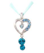 Glamorous Blue Aquamarine Swarovski element crystal love heart pendant n... - $20.00