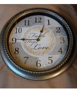 Silver Analog Wall Clock Quartz Model 5168 Displays The Words Faith Hope... - $17.99