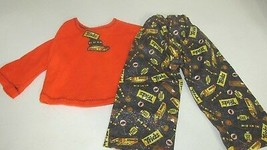 """18"""" doll clothes handmade pajama outfit Halloween orange top glitter can... - $11.87"""