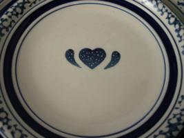 Tienshan Blue Sponge Heart Country Crock Dinner & Salad Plate Wall Hangers  - $8.00
