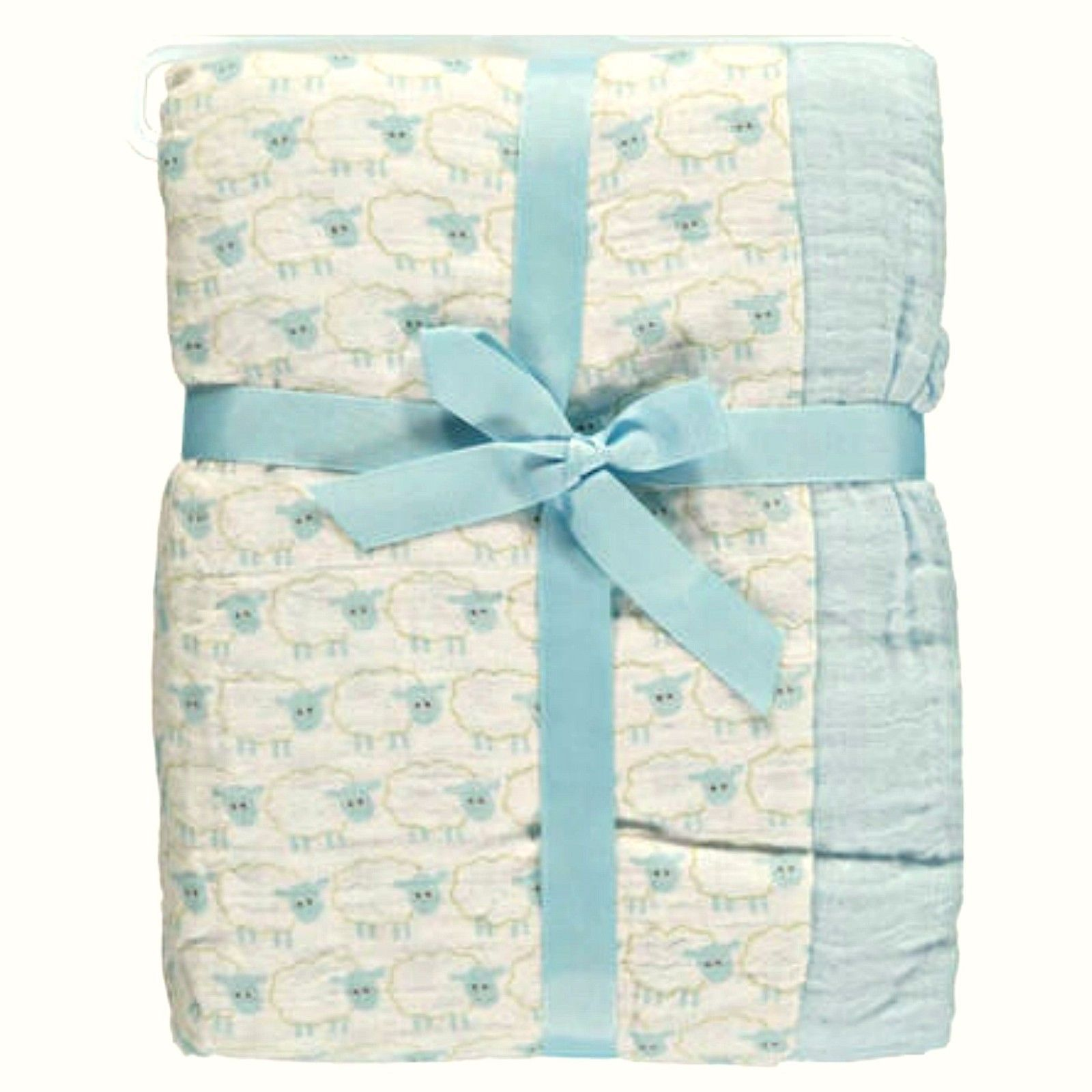 Primary image for Hudson Baby Two Swaddle Blankets Blue Sheep Cotton Muslin 46 x 46 inches