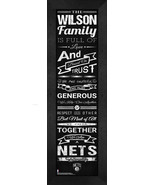 """Personalized Brooklyn Nets """"Family Cheer"""" 24 x 8 Framed Print - $39.95"""