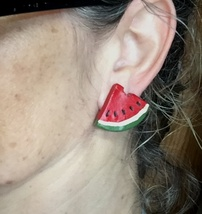 "Vintage Handmade Artsy Painted Wooden Watermelon Slices Stud Pierced Earrings 1"" image 5"