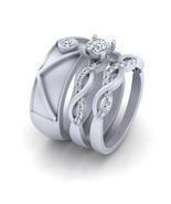 Classic Diamond Intertwined Engagement Ring Matching Wedding Band Set Hi... - $279.99+