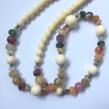 Vintage Marbled Lucite Beaded Necklace Plastic Beads Multicolor White  - $19.75