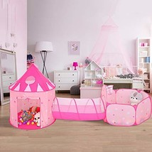 SparkleDay 3 pc Kids Princess Castle Play Tent Crawl Tunnel & Ball Pit with - $65.15