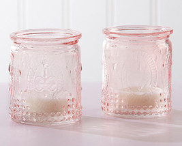 24 Vintage Pink Glass Tea Light Candle Holder Girl Baby Shower Baptism F... - $76.90