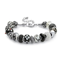 "PalmBeach Jewelry Black and White Bali-Style Beaded Bracelet Silvertone 8"" - $23.99"
