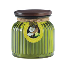 Decorative Jar Candle, Glass Jar Scented Candles, Coconut Lime Ribbed Ja... - $23.78