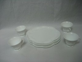 Set 4 Vintage Indiana Milk Glass Colony Harvest Grape Snack Luncheon Plate Cup - $18.65