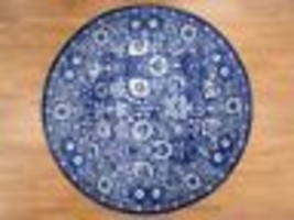 8'x8' HandKnotted Round Tabrez Tone on Tone Wool and Silk Oriental Rug G... - $3,168.00