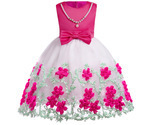 Flower Girl Dresses Bow Floral Pearl Pageant Dress For Girls Evening Ball Gown