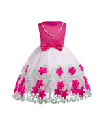 Flower Girl Dresses Bow Floral Pearl Pageant Dress For Girls Evening Bal... - $29.00