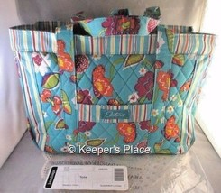 Longaberger SISTERS SUMMER LOVIN Teal Quilted Double Handled Carry On Zi... - $29.00