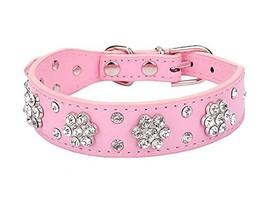 "AM MARCH 12""-15"" Rhinestone Bling plum flower Studded Leather Dog Collar... - $11.83"