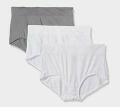 Warner's Women's Blissful Benefits No Muffin Top 3 Pack Brief Panty, White/Smoke image 2