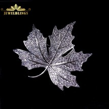 Queen Jewelry CZ Canadian Maple Leaf Brooches and Pins Silver Tone Micro... - $23.79