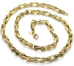 18K YELLOW GOLD CHAIN BIG ALTERNATE OVALS 7 MM 20 INCHES, SQUARED NECKLACE SHOWY image 1