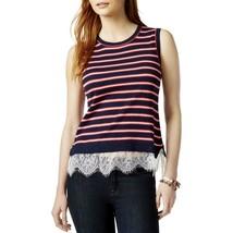Tommy Hilfiger Womens Striped Lace Trim Tank Top Sweater XL - $23.36