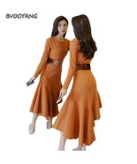 New Women Spring Autumn knit Dresses Round Neck Long Sleeve Slim Sexy Dr... - $81.40