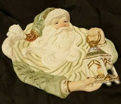 Fitz & Floyd Green Gold Old World Santa Christmas Canape Cookie Plate - $24.99