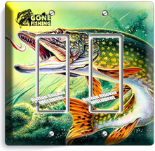 Gone Fishing Pike Lure Lake 2 Gang Gfci Light Switch Wall Plate Room Cabin Decor - $11.69