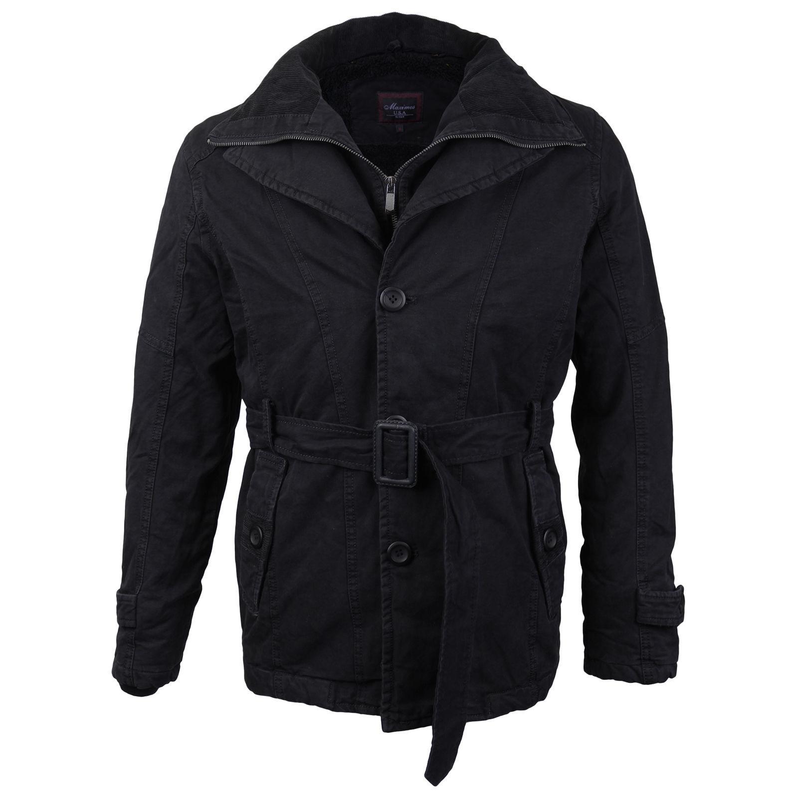 Maximos Men's Multi Layered Belted Modern Norfolk Trench Pea Coat Jacket EMMA-01