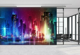 3D City Neon Ground P43 Business Wallpaper Wall Mural Self-adhesive Comm... - $13.49+