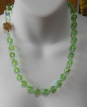 Vintage Green Aurora Borealis Faceted Crystal Necklace W/ Lovely Flower ... - $103.95