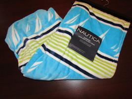 Nautica new oversized plush throw blanket sailboats & stripes 50x70  - $46.08 CAD