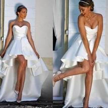 Sleeveless Satin Ruffles High Low Sweetheart Beach Bridal Gown image 2