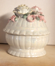 """Flowered Ceramic Candy or What Not Jar, Glazed & Pearled, Approx 7""""T, Co... - $23.00"""