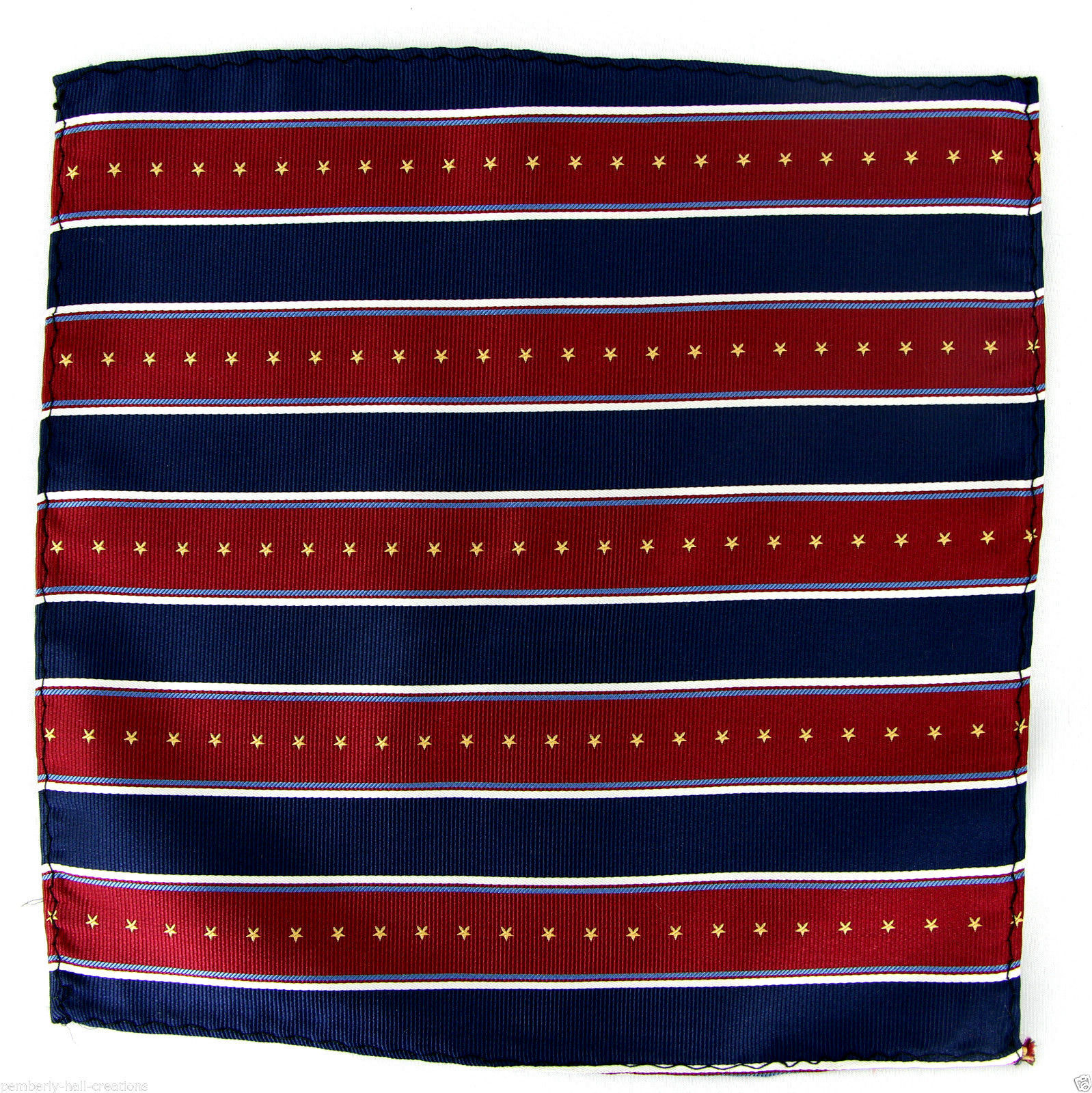 Stars & Stripes Navy Blue & Red Men's Suit Pocket Square Handkerchief Hanky