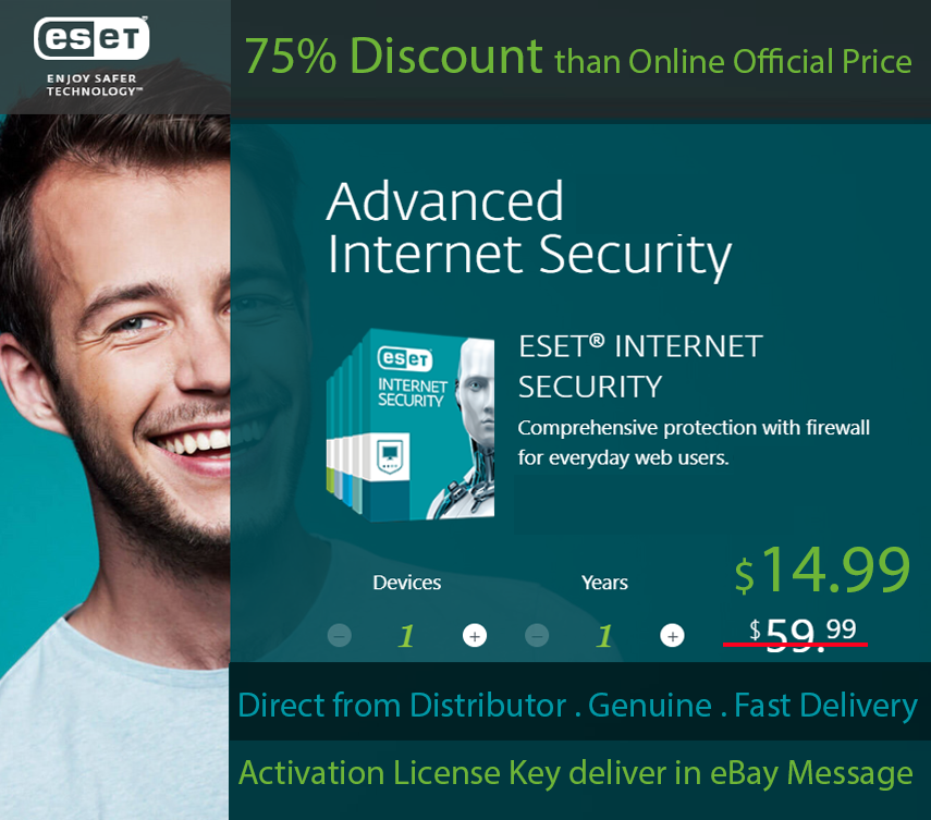 ESET Internet Security 1 User 1 Year,Win & and 50 similar items