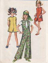 Vtg 1970 Girls Pant Dress Pant Jumper Romper Teardrop Neck Sew Pattern S... - $13.99